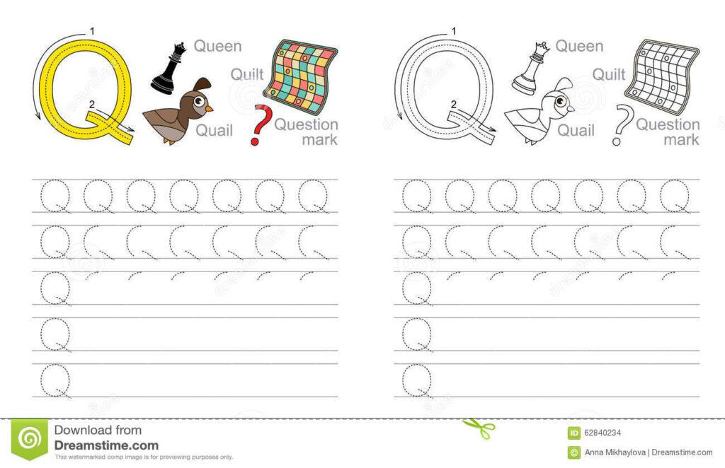 Tracing Worksheet For Letter Q Stock Vector   Illustration