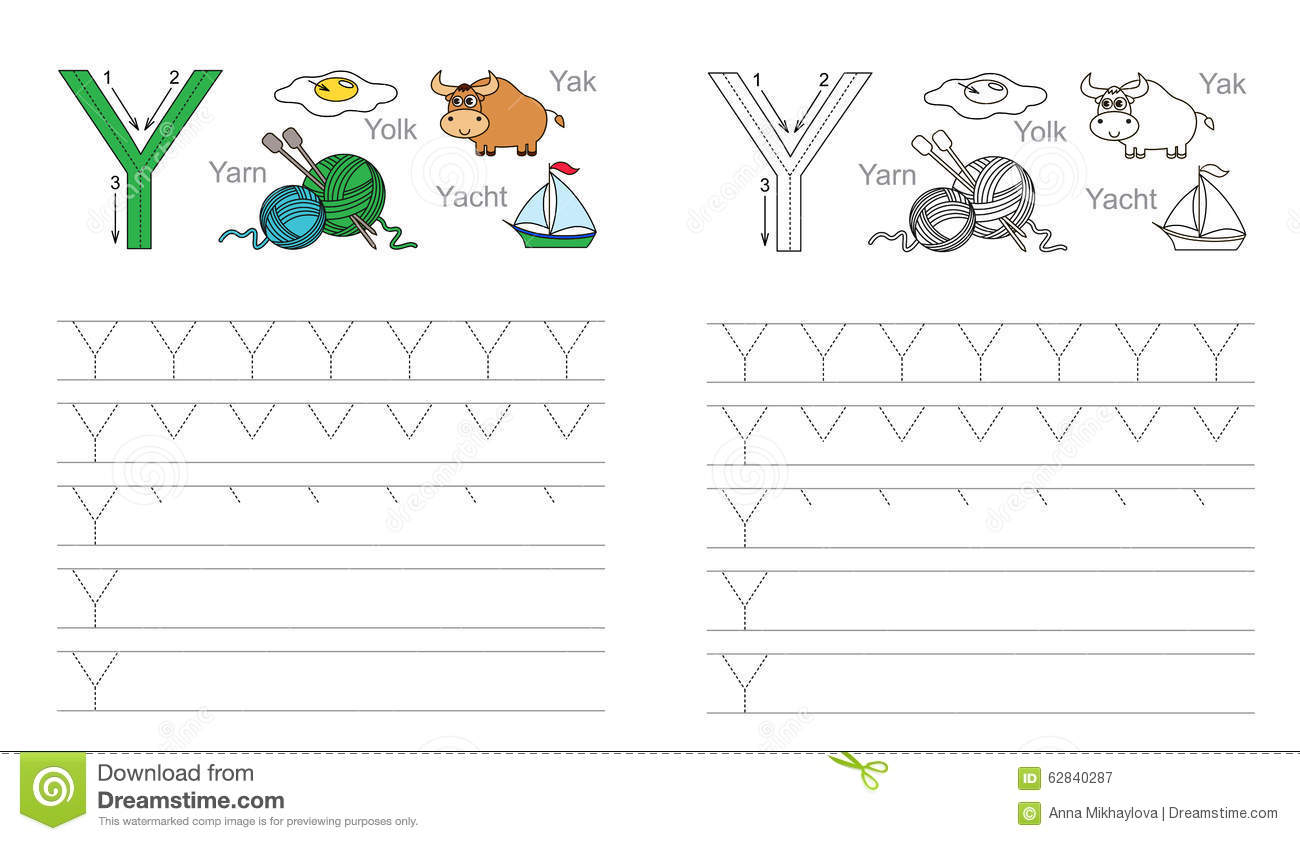 Tracing Worksheet For Letter Y Stock Vector - Illustration within Letter Y Tracing Page