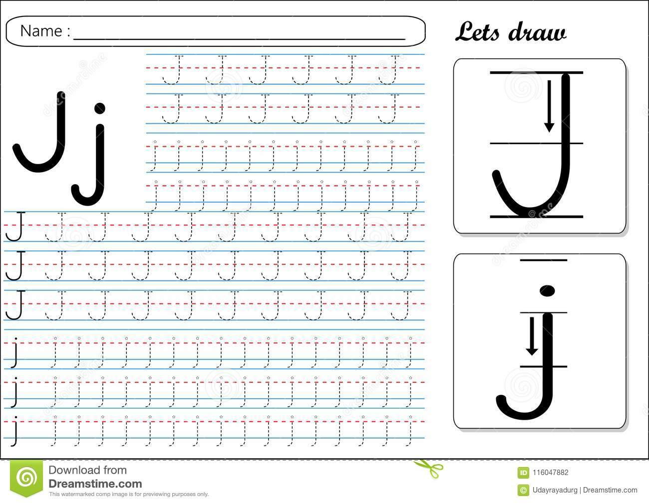 Tracing Worksheet -Jj Stock Vector. Illustration Of Spelling in Alphabet J Tracing