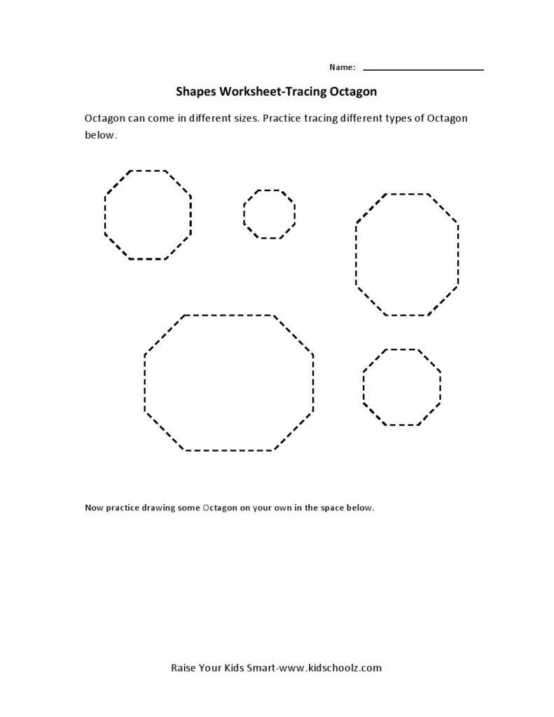 Tracing Worksheets – Octagon | Tracing Worksheets, Preschool