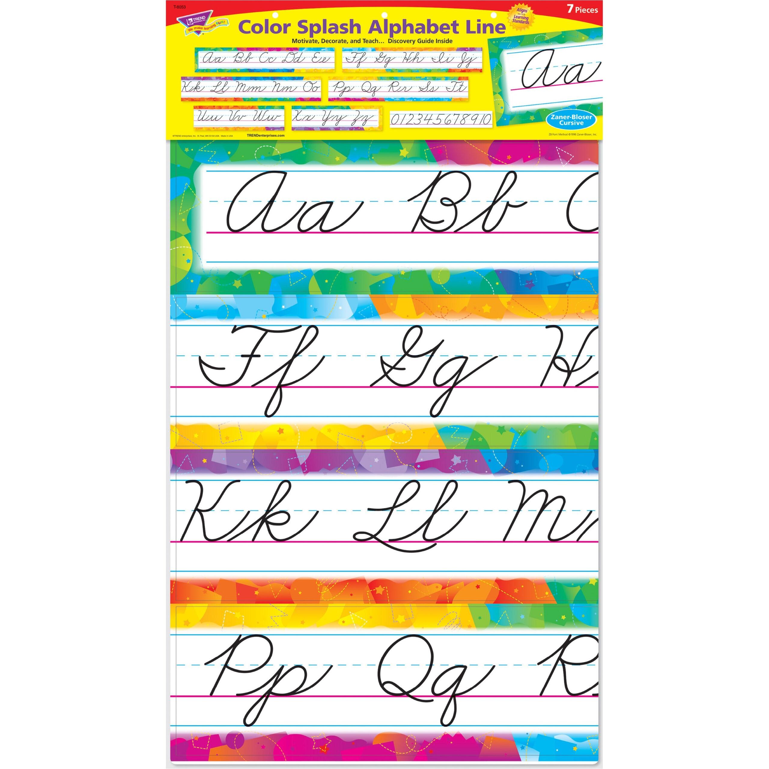 Trend Color Splash Cursive Alphabet Board Set - Skill