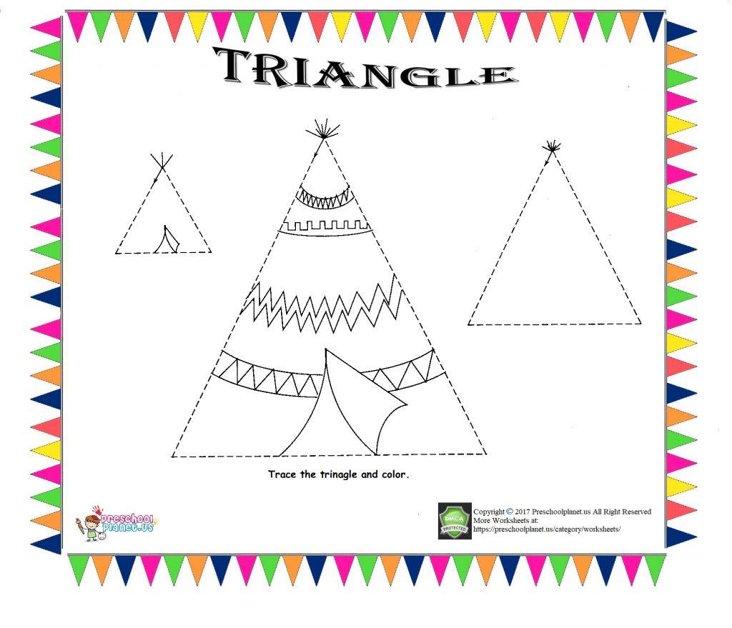 Triangle Trace Worksheet For Kids – Preschoolplanet