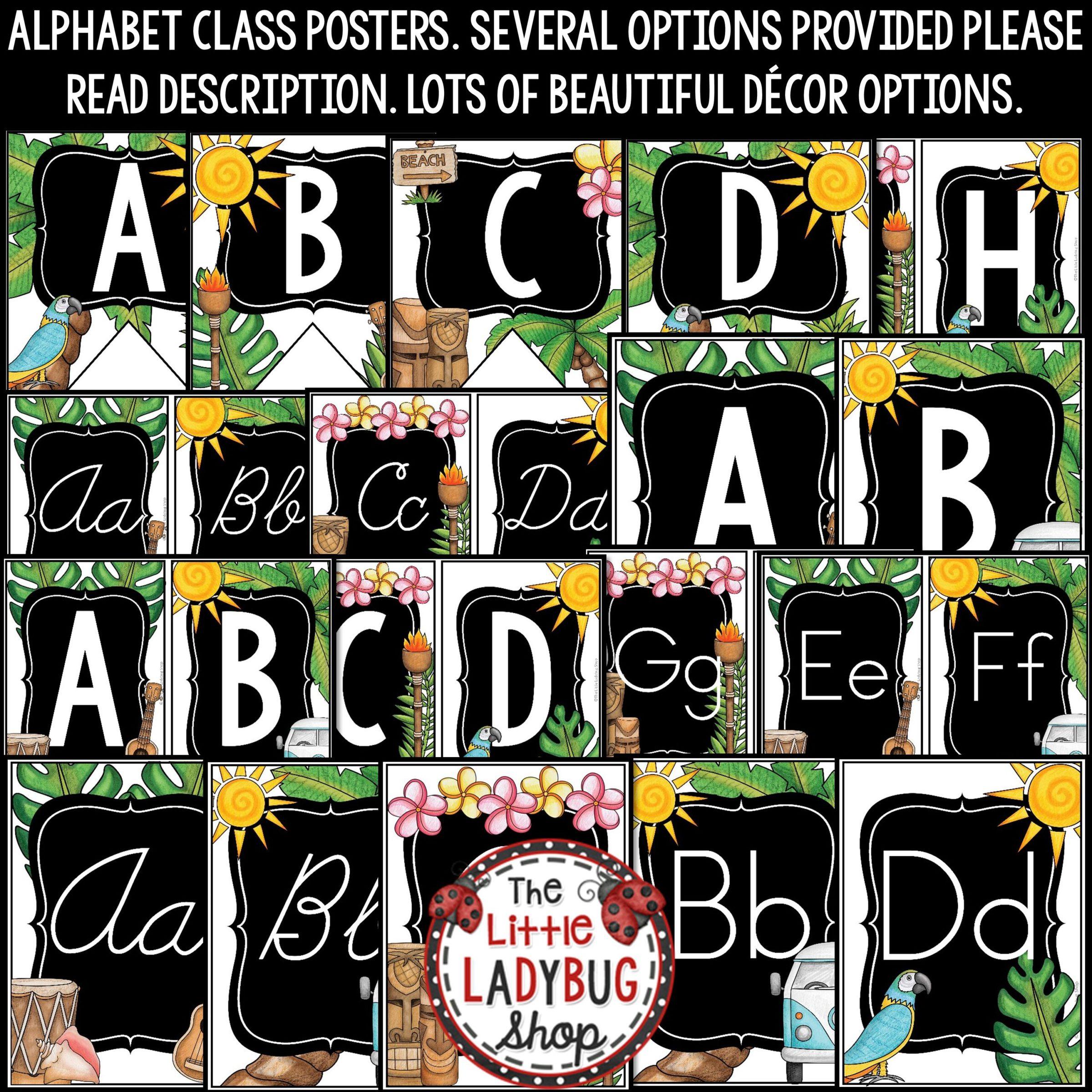 Tropical Classroom Decor: Print & Cursive Alphabet Posters Bulletin Board