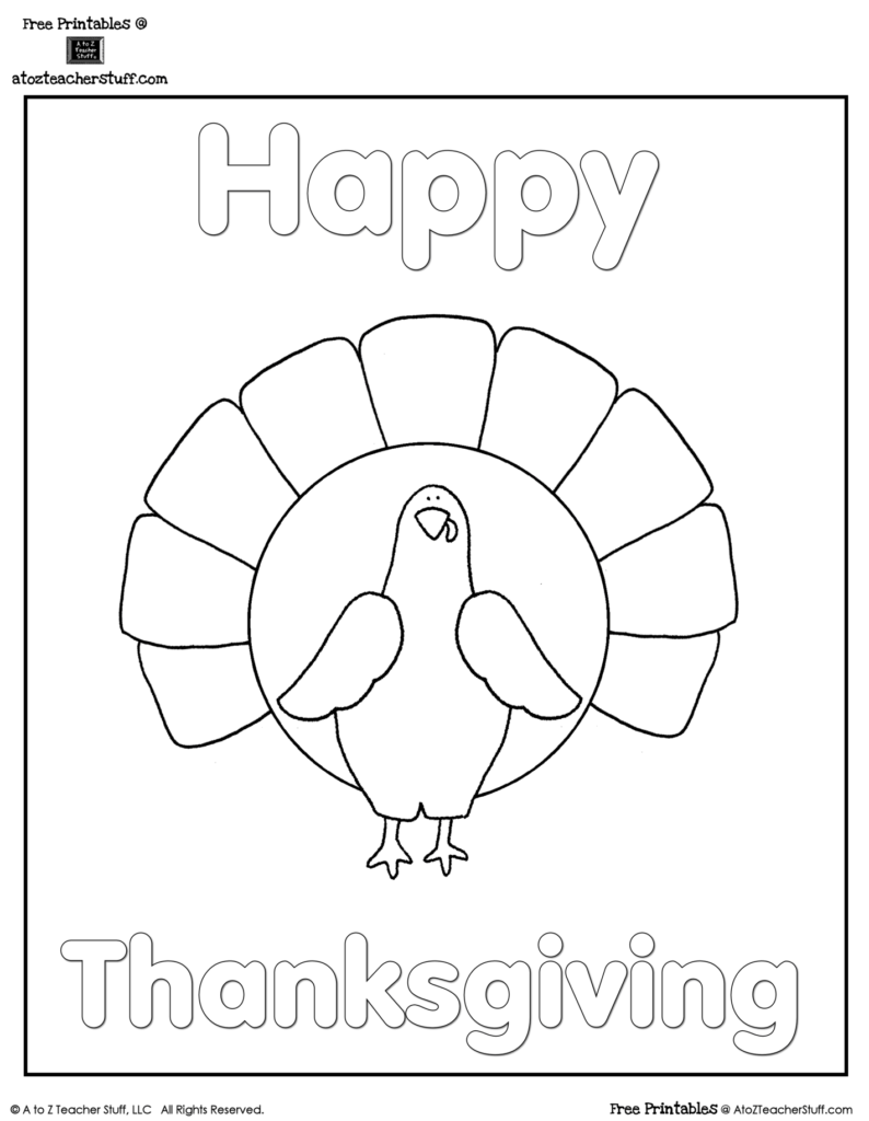Turkey Coloring Sheet | A To Z Teacher Stuff Printable Pages
