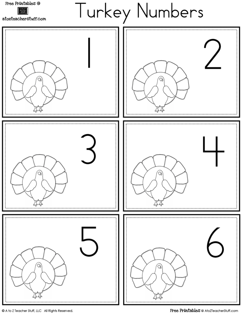 Turkey Number Cards | A To Z Teacher Stuff Printable Pages