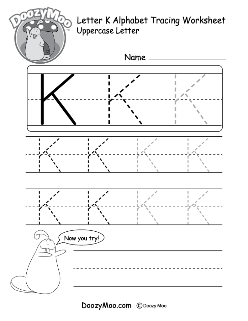 Uppercase Letter K Tracing Worksheet   Doozy Moo