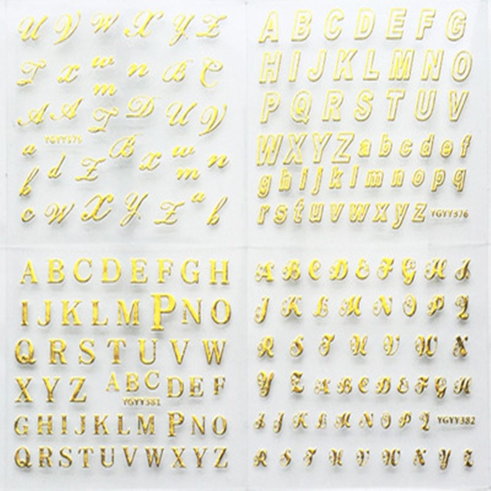 Us $2.02 25% Off|24 Sheets/pack Gold Color Nail Art 3D Decal Diy Stickers  Cursive Alphabet English Letters Design Nail Sticker Women Fashion|Stickers
