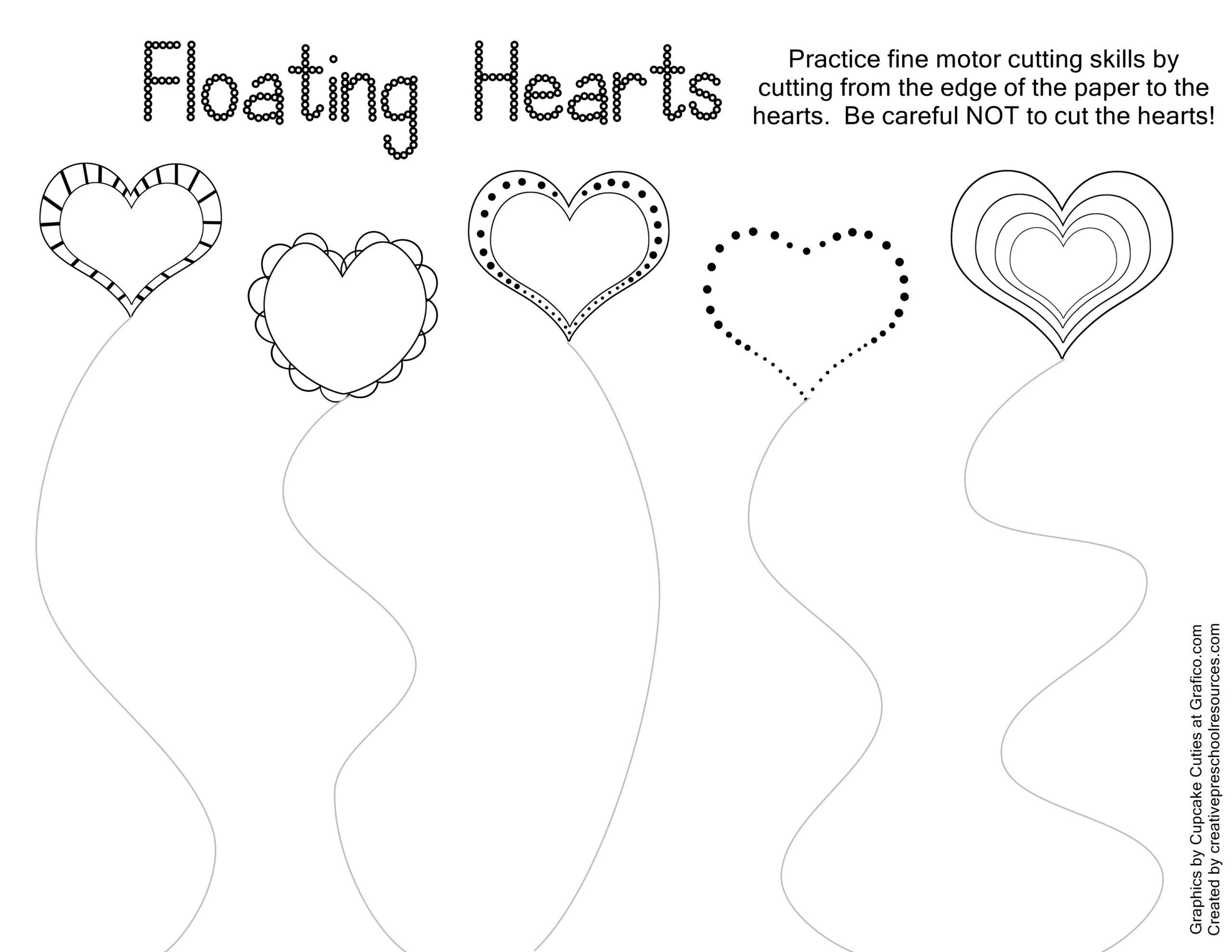 Valentine Trace Cut Printables Kids Stuffs Cutting Practice