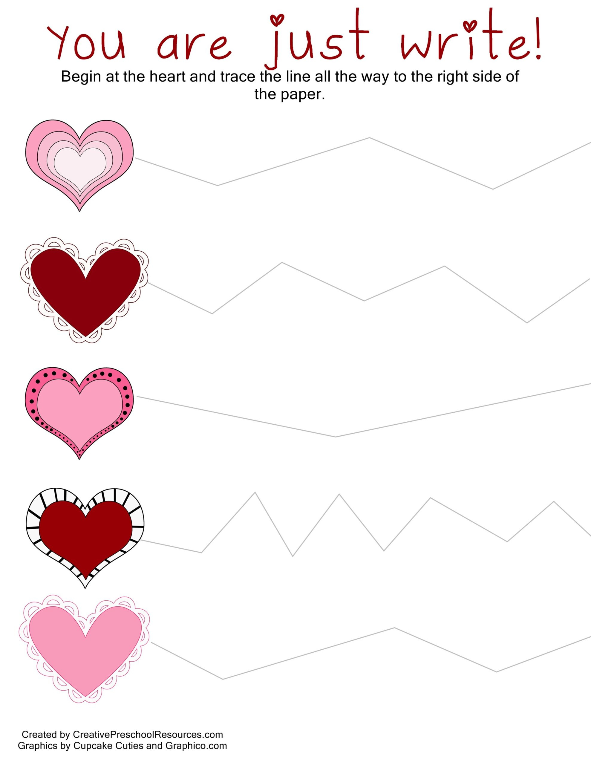 Valentine Trace Cut Printables School Activities Preschool