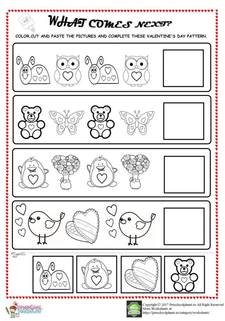 Valentine's Day Pattern Worksheet For Kids – Preschoolplanet