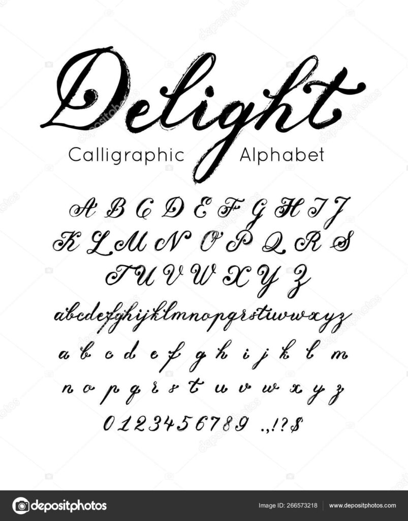Vector Elegant Font And Alphabet. Set Of Cursive Letters And Numbers. Brush  Type 266573218