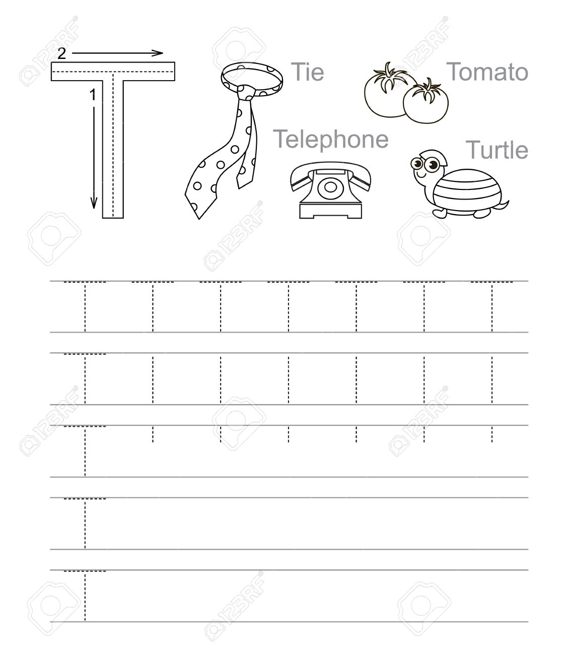 Vector Exercise Illustrated Alphabet. Learn Handwriting. Tracing.. for Letter T Tracing Page