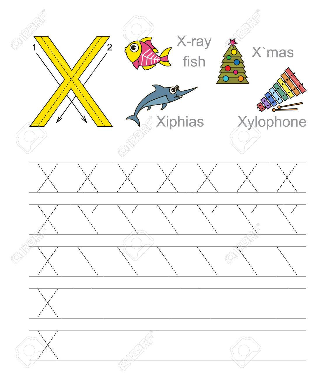 Vector Exercise Illustrated Alphabet. Learn Handwriting. Tracing.. in Letter Tracing X