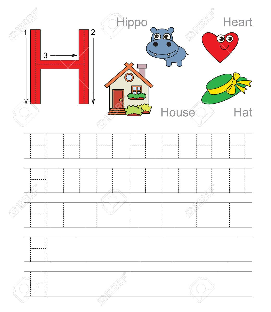 Vector Exercise Illustrated Alphabet. Learn Handwriting. Tracing.. regarding Letter H Alphabet Worksheets