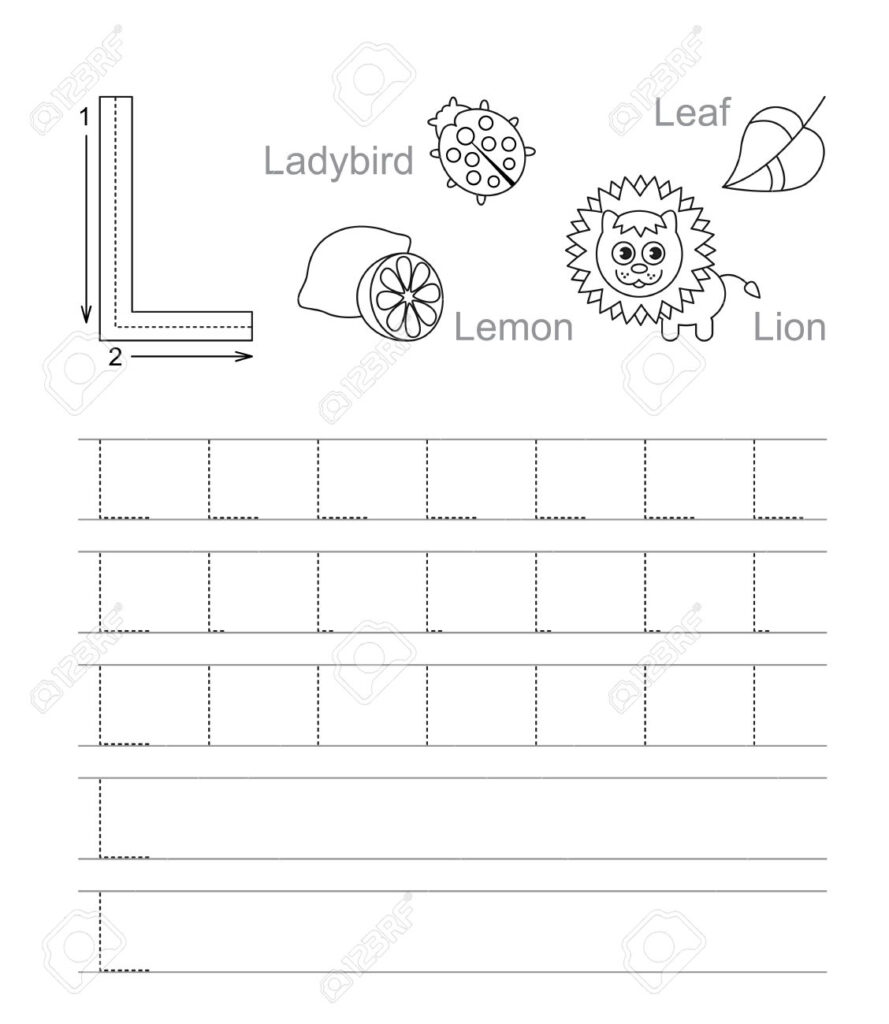 Vector Exercise Illustrated Alphabet. Learn Handwriting. Tracing.. With Alphabet L Tracing