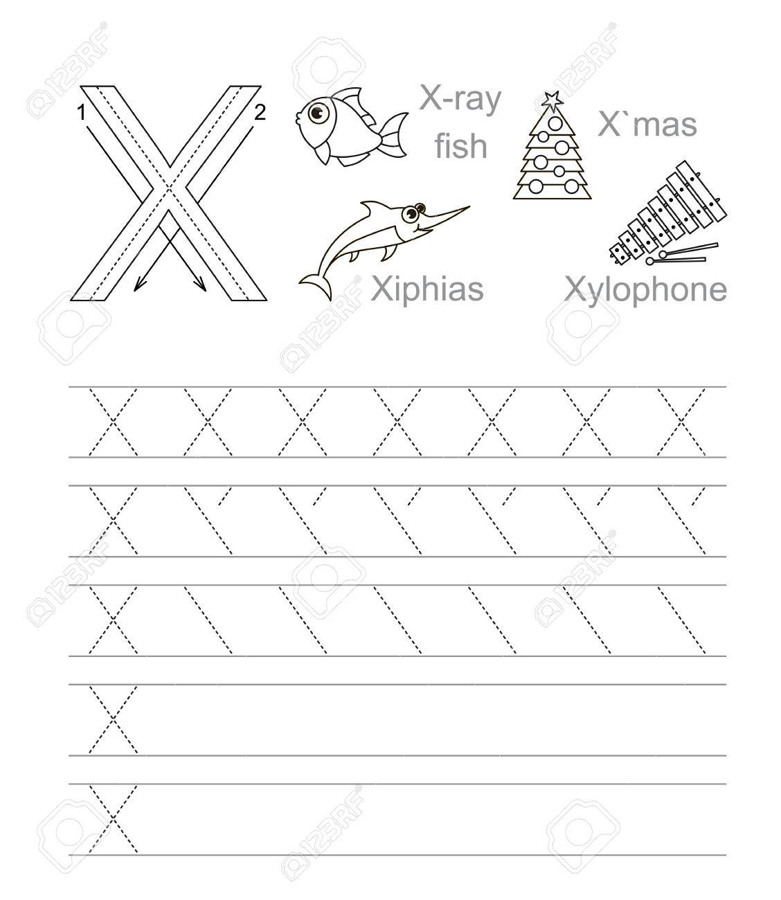 Vector Exercise Illustrated Alphabet. Learn Handwriting. Tracing.. with Letter X Tracing Page
