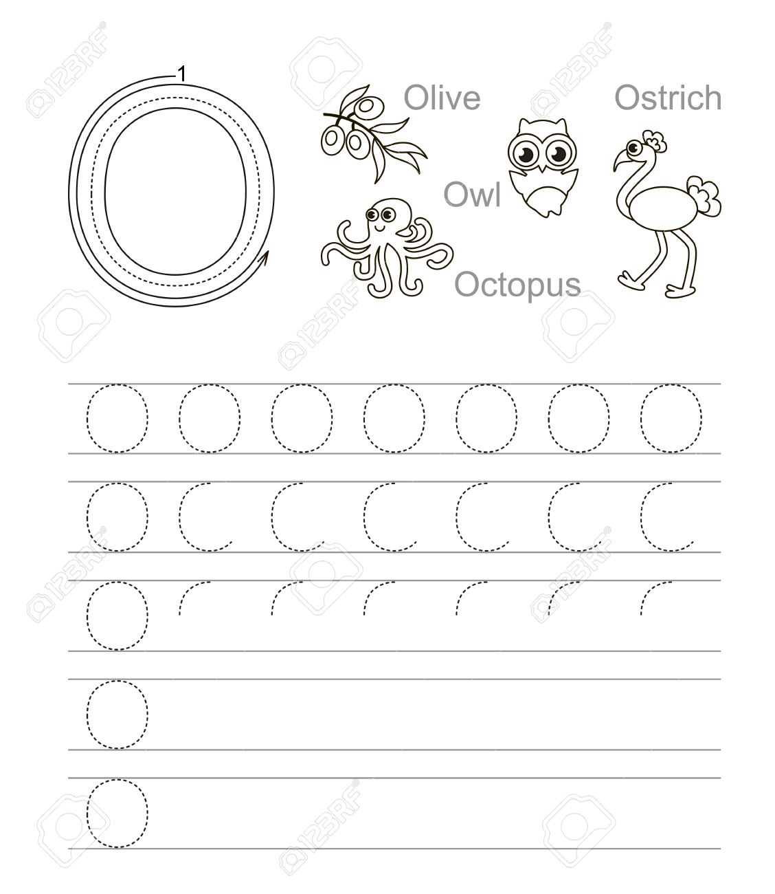 Vector Exercise Illustrated Alphabet. Learn Handwriting. Tracing.. with O Letter Tracing