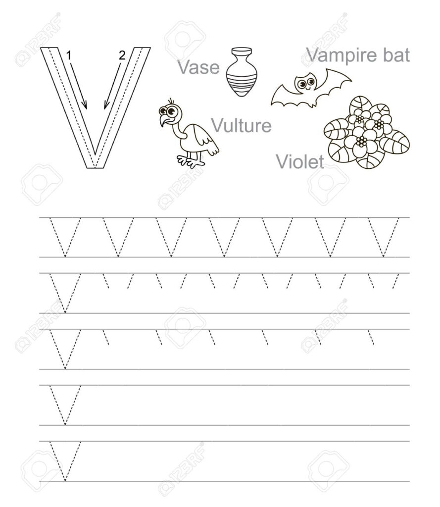 Vector Exercise Illustrated Alphabet. Learn Handwriting. Tracing.. Within Letter Tracing V