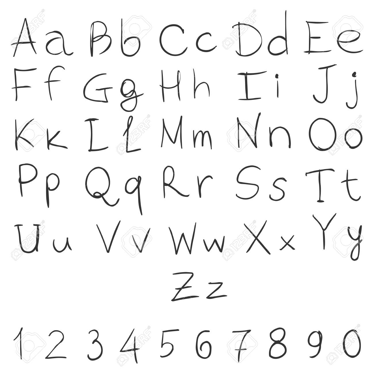 Vector Handwritten Alphabet With Numbers On White Background