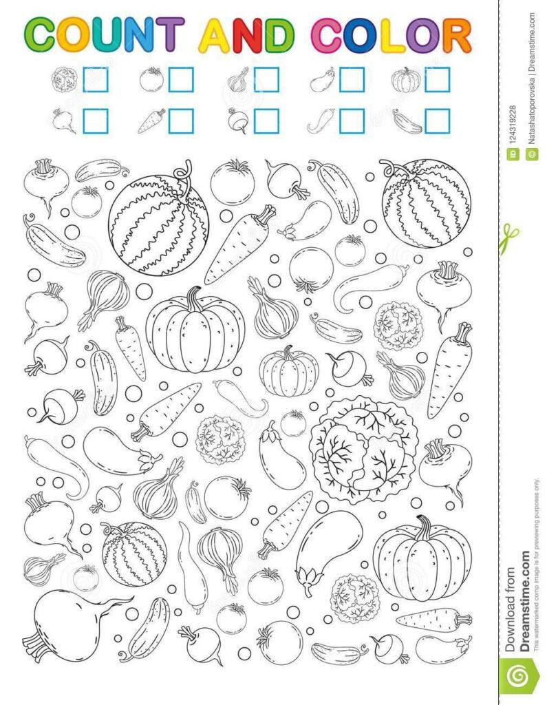 Vegetable Worksheets For Kindergarten Coloring Book Page