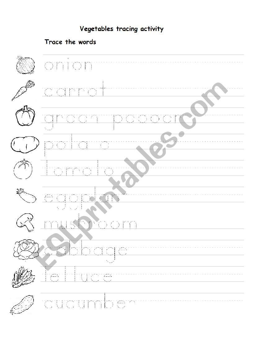 Vegetables Tracing Activity 1 - Esl Worksheetnesmecik