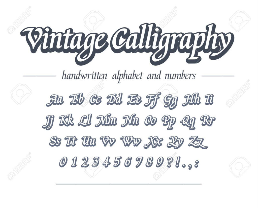 Vintage Calligraphy. Hand Drawn Outline Alphabet. Universal Handwritten..