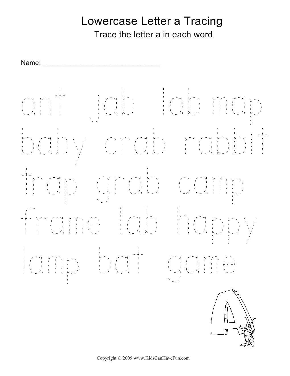 Word Tracing Worksheets For Kids | Kindergarten Reading