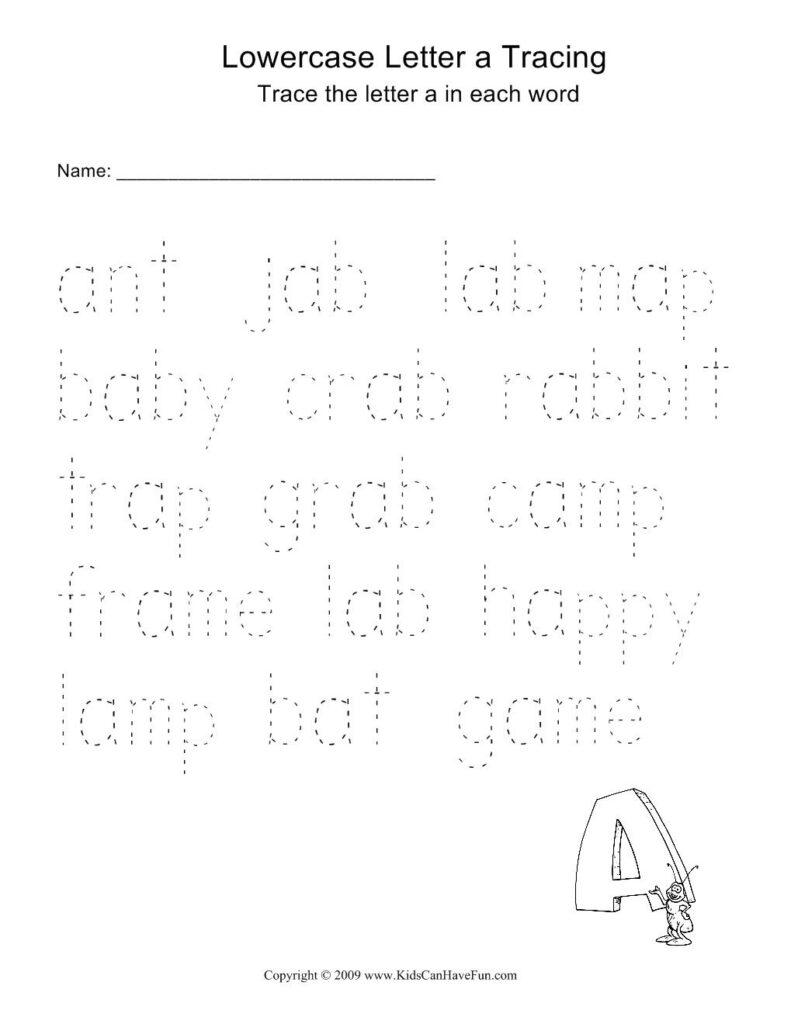 Word Tracing Worksheets For Kids   Kindergarten Reading