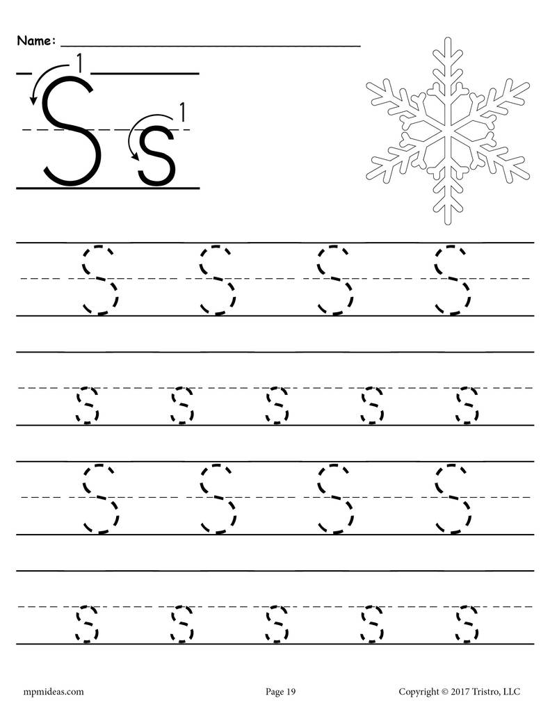 Worksheet ~ 1Print Preschool Handwriting Tracingnoarrows19 1 with Letter S Worksheets Free Printables
