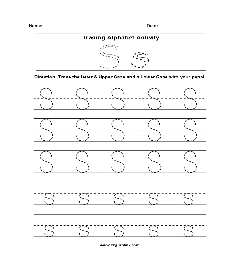 Worksheet ~ Alphabet Tracing Printables Numbers Worksheets regarding Letter S Tracing Worksheets Pdf