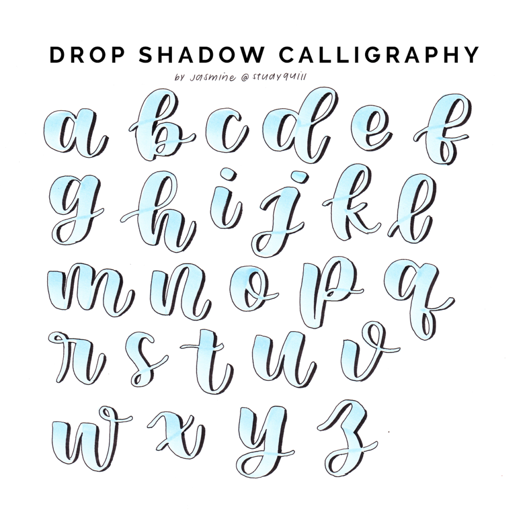 Worksheet ~ Calligraphy Drop Shadow Reference Sheet See The