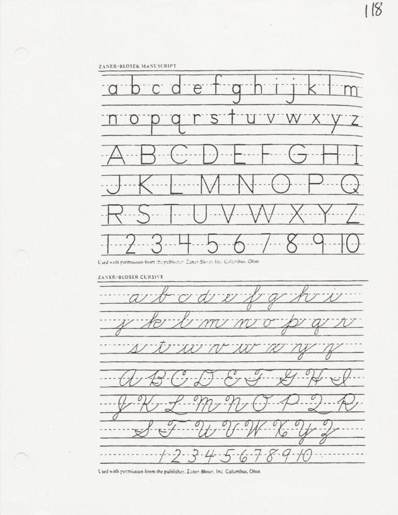 Worksheet ~ Cursive Alphabetintable Chart Letter Tracing
