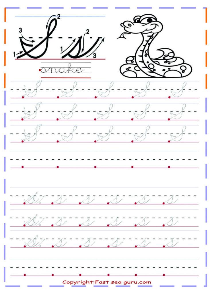 Worksheet ~ Cursive Handwriting Tracing Worksheets Letter S