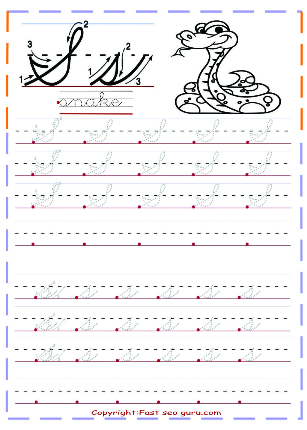 Worksheet ~ Cursive Handwriting Tracing Worksheets Letter S