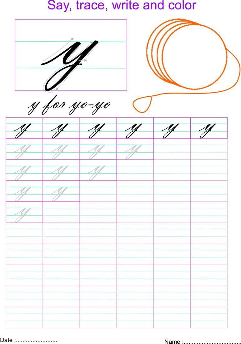Worksheet ~ Cursive Small Letter Y Worksheet Letters