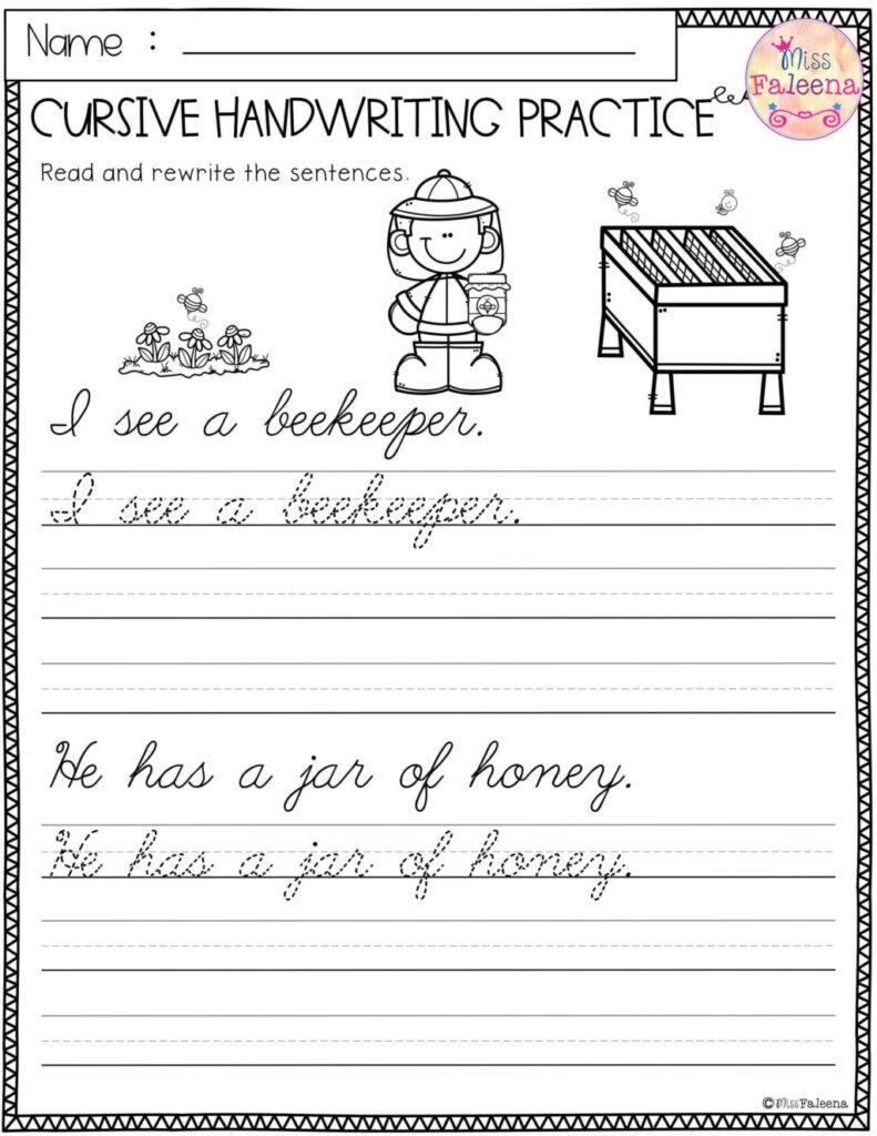 Worksheet ~ Cursive Writing Sentences Worksheets Spring