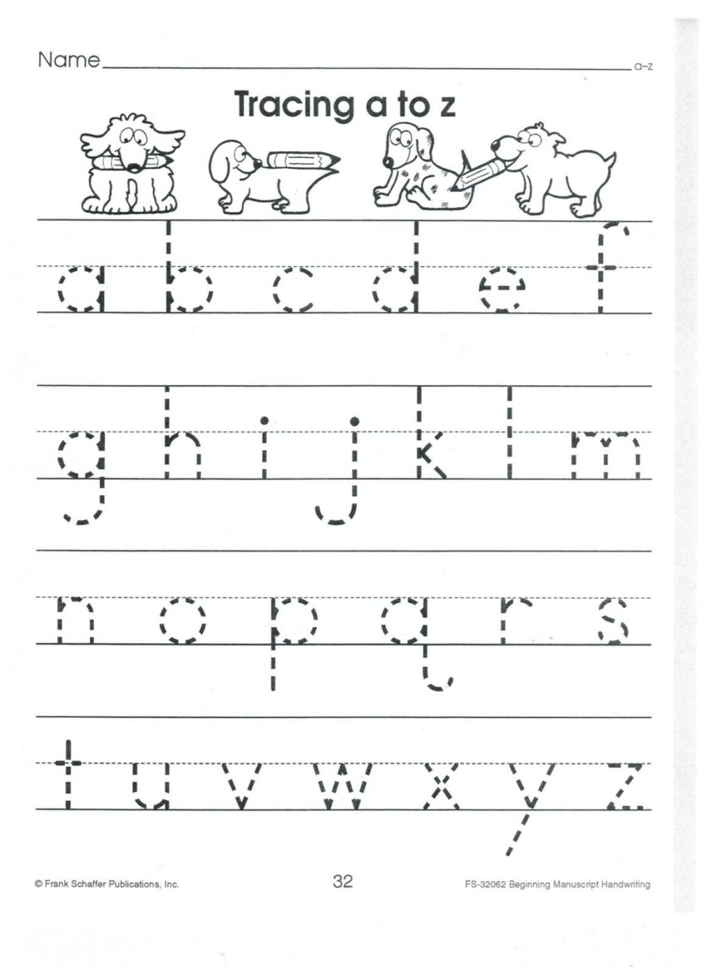 Worksheet ~ English Print To Z Lower Case Alphabet Tracing