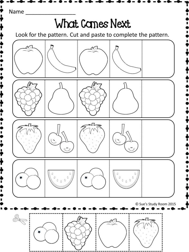 Worksheet For Preschoolers Patterns Fruit Worksheets