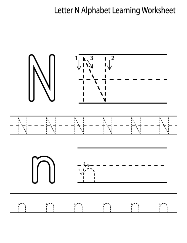 Worksheet ~ Free Alphabetning Sheets For Adults Kids Writing With Regard To Letter N Tracing Printable
