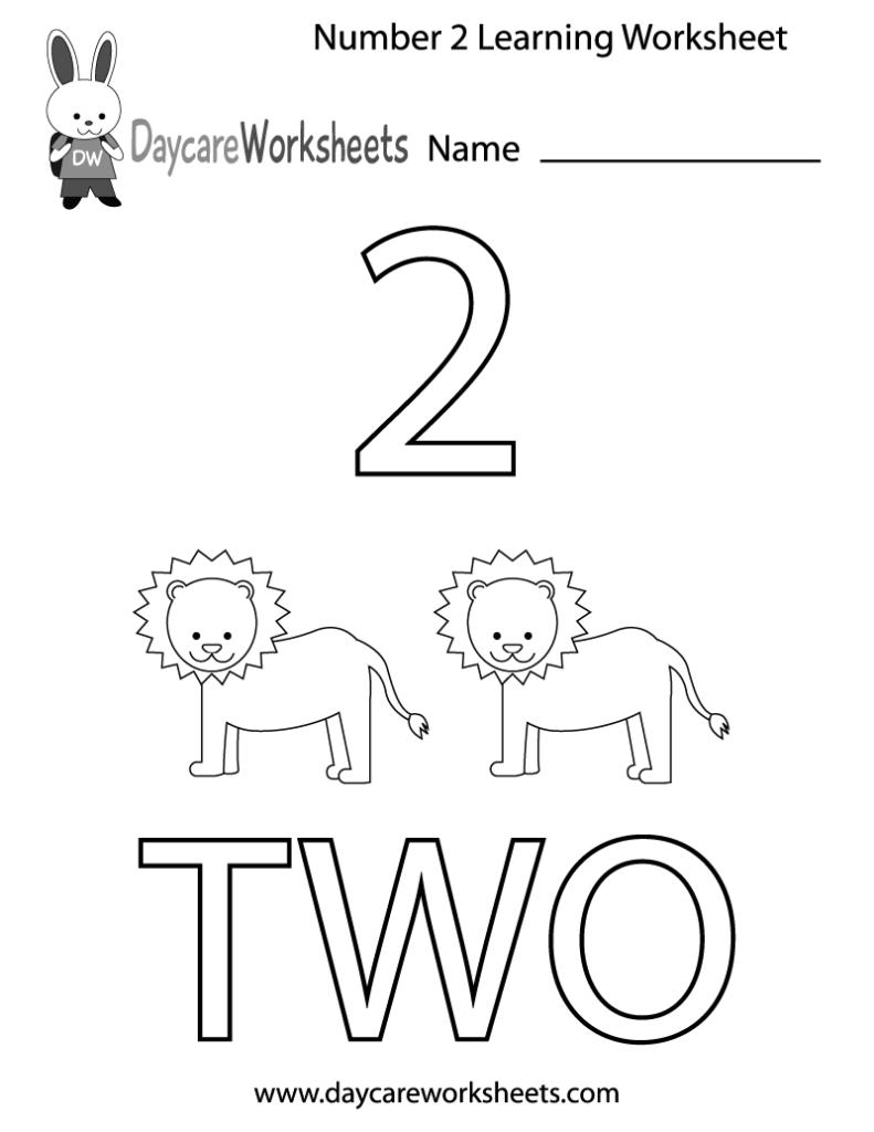 Worksheet ~ Free Printable Number Two Learning Worksheet For