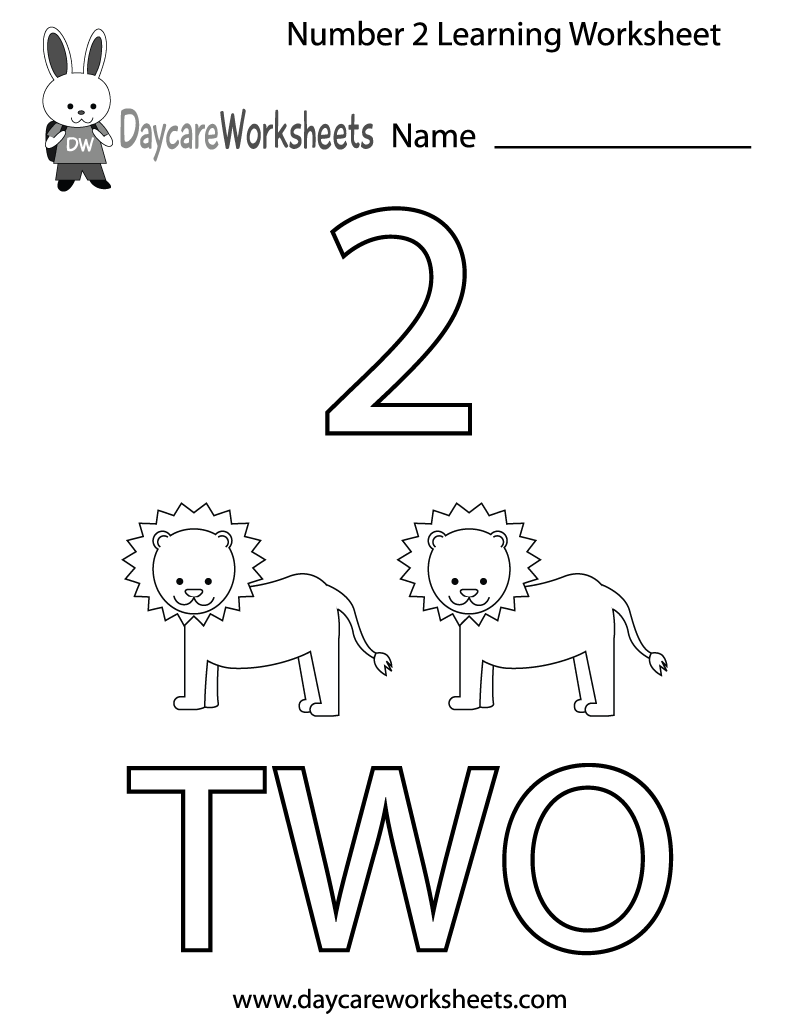 Worksheet ~ Free Printable Number Two Learning Worksheet For