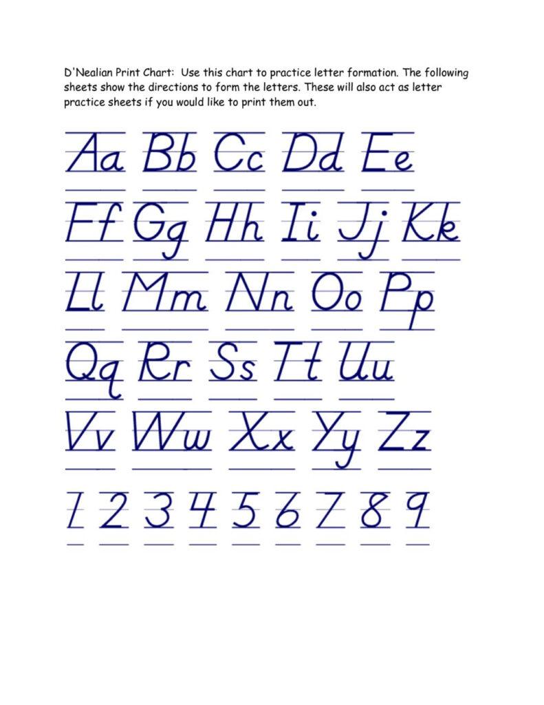 Worksheet ~ Handwriting Practice Worksheets Dnealian Inside D'nealian Alphabet Tracing Worksheets