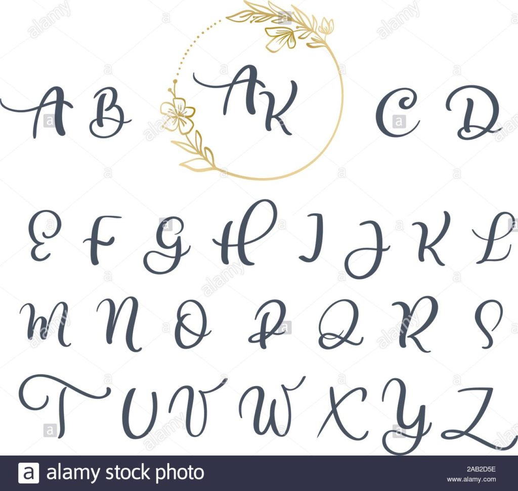 Worksheet ~ Handwritten Calligraphy Monogrambet Cursive Font
