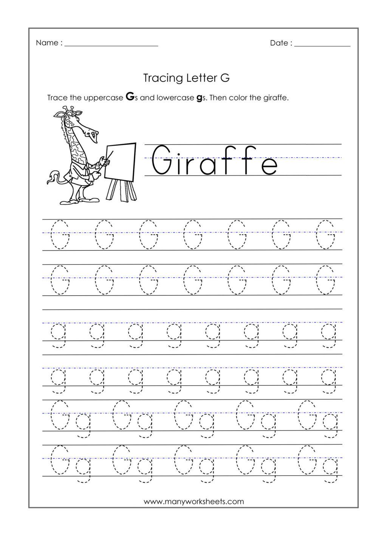 Worksheet ~ Kindergarten Tracing Worksheets Letter G intended for Letter G Tracing Printable