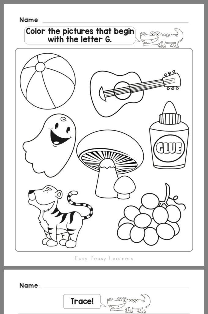 Worksheet ~ Kindergarten Worksheets First Grade Printable Inside Letter G Worksheets For First Grade