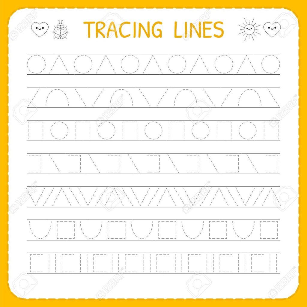 Worksheet ~ Preschoolg Pages Basic Trace Line Worksheet For