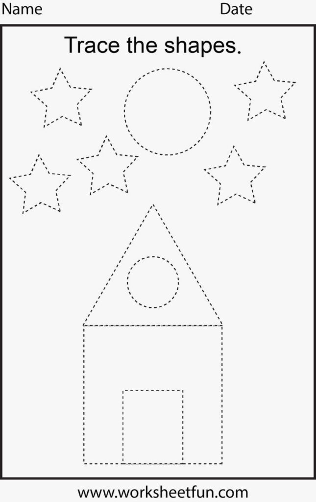 Worksheet ~ Shape Tracing Worksheets For Print Worksheet