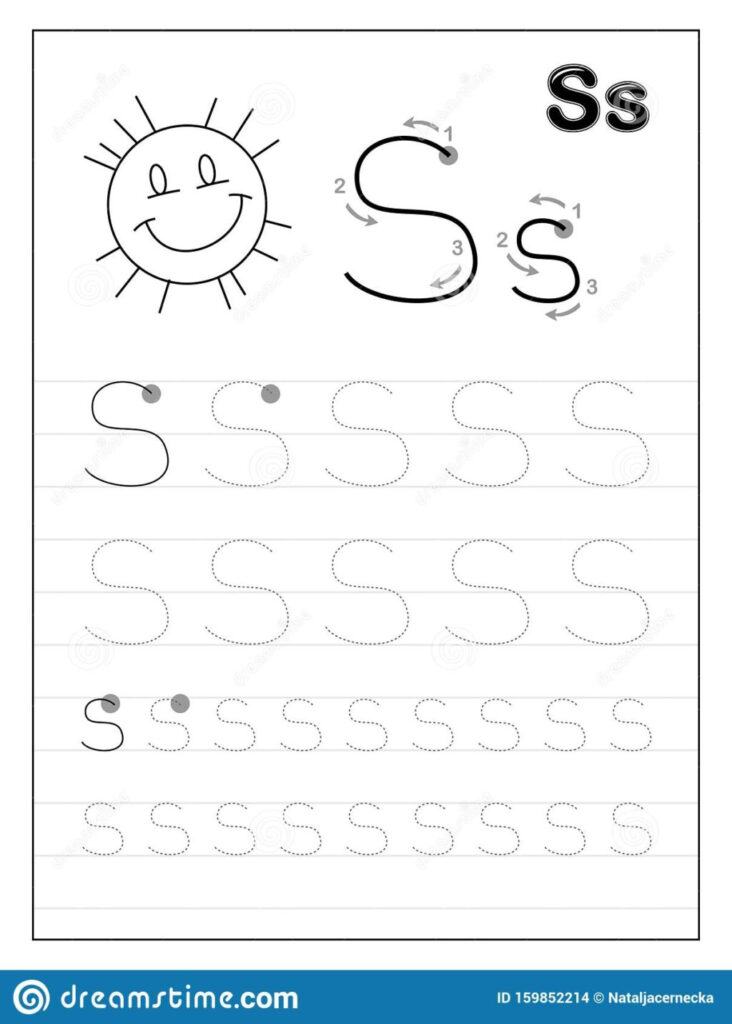 Worksheet ~ Tracing Alphabet Letter S Black And White