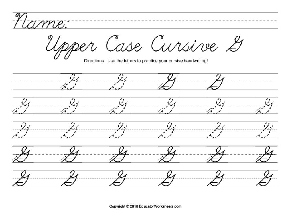 Worksheet ~ Upper Case Cursive G Worksheet For 2Nd 3Rd