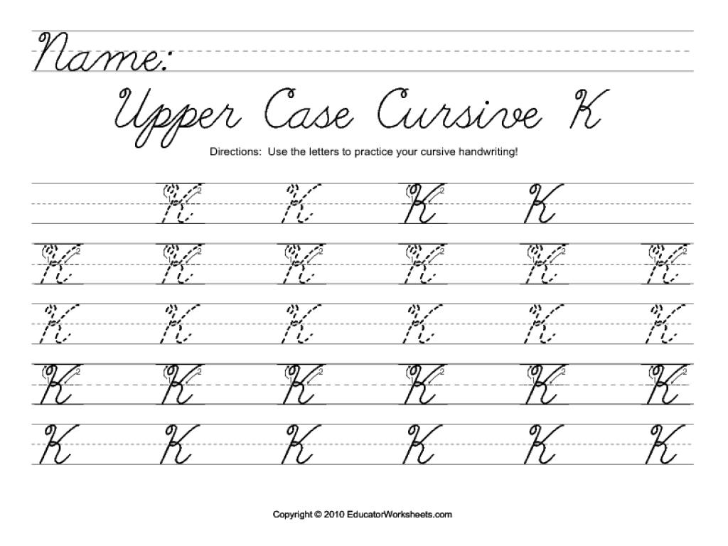 Worksheet ~ Upper Case Cursive K Worksheet For 2Nd 3Rd Grade